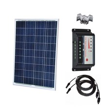 Waterproof Solar Panel 100w 12v Battery Charger olar Charge Controller 12v/24v 30A Pv Cable Plate Mount Rv Roof Car