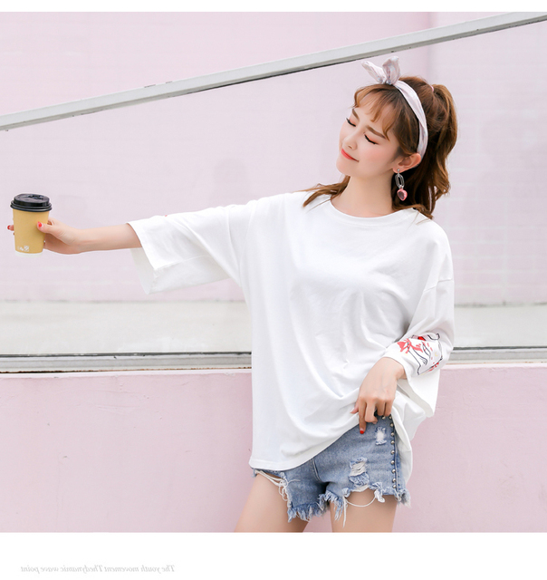 Harajuku Women T-shirt Fashion Hiphop Street Japanese Funny Cat Print Black Tops Female T Shirts Punk Funk Rock Seven Sleeve 4