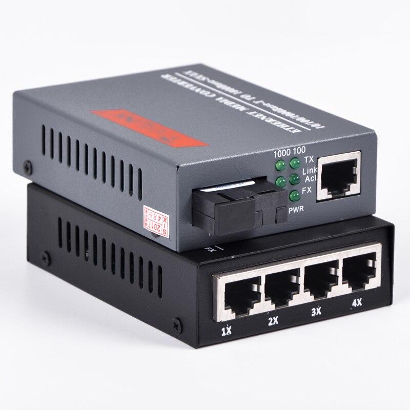1 pair 10/100/1000Mbps Gigabit Ethernet Media Converter 1 port RJ45 1 port SC + 4 port RJ45 1 port SC Single Mode Optic Fiber