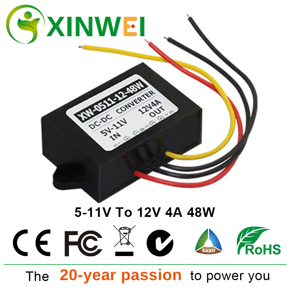 XINWEI <font><b>DC</b></font> <font><b>5V</b></font>-11V To <font><b>DC</b></font> <font><b>12V</b></font> <font><b>4A</b></font> 48W Power <font><b>Converter</b></font> Step Up Boost Module Plastic Non-isolated BUCK For Car & Navigation Monitoring image
