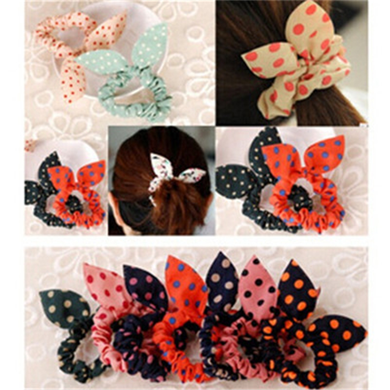 New arrival 5pcs/lot Korean headdress hair accessories cute bunny ears hair ring wave point rabbit ears hair band CC2150