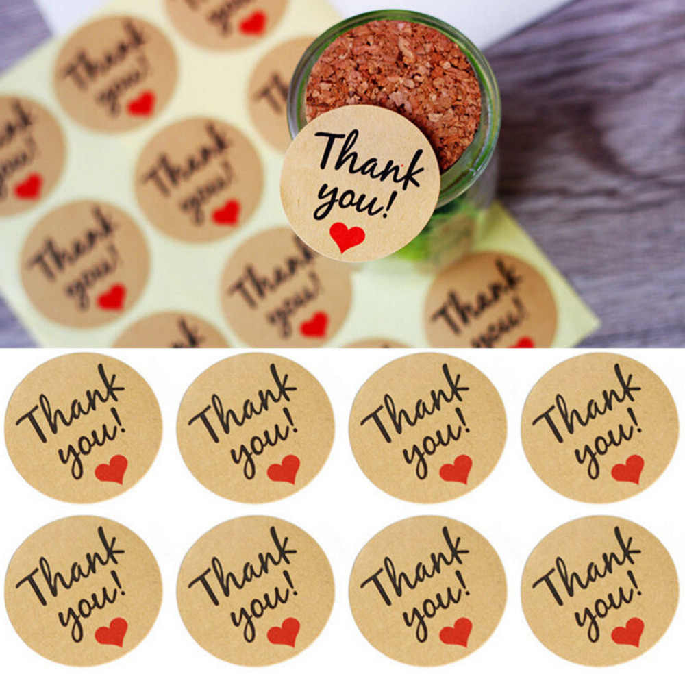 60 Pcs Letter Thank You paper tags self-adhesive love stickers kraft label sticker For Candy Boxes DIY Hand Made Gift Cake