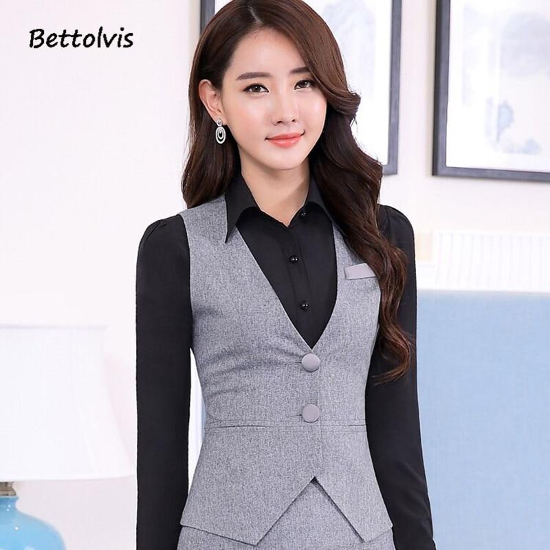 2018 las señoras de la carrera del negocio de la manera uniformes ropa de  trabajo chaleco Slim v cuello Formal vestidos mujeres Oficina chalecos  negro XXXL ... 2706d13b2160
