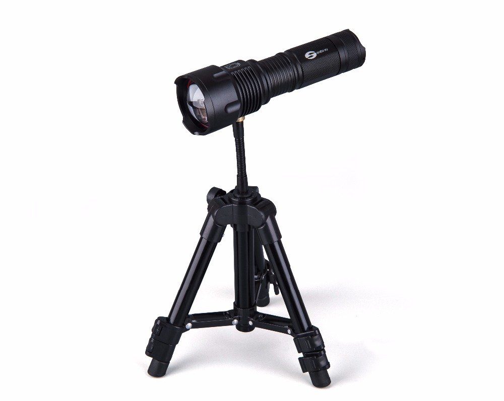 SHENYU LED Flashlight 26650 Zoom Torch Waterproof T6 2000LM 3 Mode Light For 3x AA or 3.7v Battery for Fishing with Tripod shenyu powerful tactical led flashlight cree xml t6 l2 zoom waterproof torch for 26650 rechargeable or aa battery