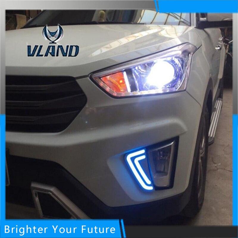 2шт АБС дневные ходовые огни для Hyundai IX25 2014-2016 белый+желтый сигнал поворота лампы ДРЛ