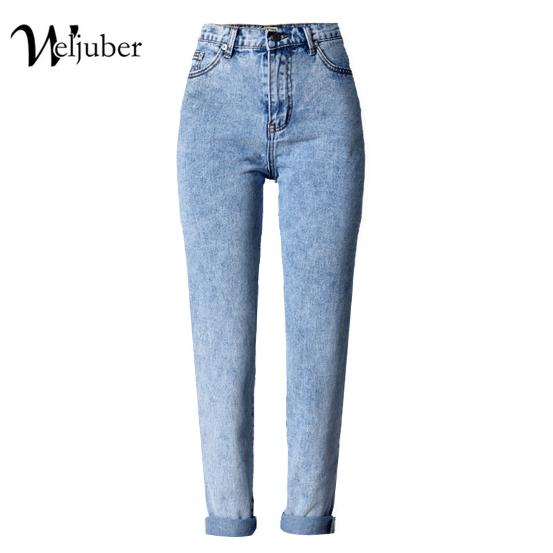 weljuber High Waist Jeans Women Hot Sale American Style Washed Light Blue Pencil Denim Pants Plus Size High Elastic trousers 2017 new jeans women spring pants high waist thin slim elastic waist pencil pants fashion denim trousers 3 color plus size