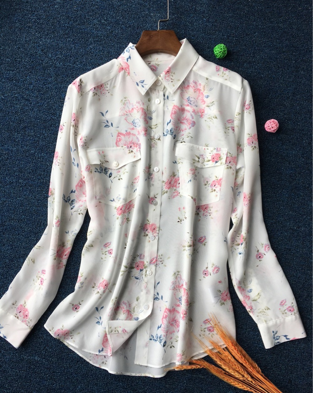 100% Silk blusas Plus Size Fresh Floral Printed Long Sleeve Front Double Pockets Casual Women Blouse and Tops