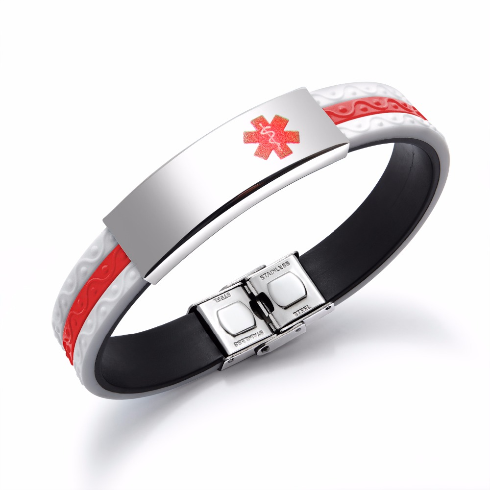 Popular Titanium Steel Men's Silicone Bracelet Red Medical Sign Men's Bracelet Women's Blue Charm Bracelet Jewelry