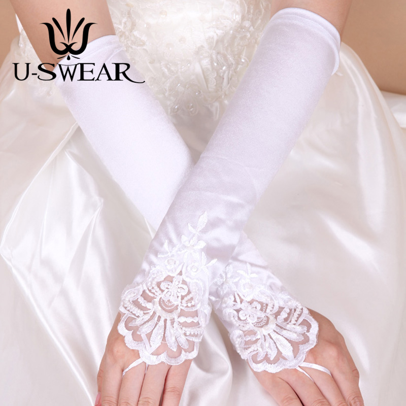 U-SWEAR 2019 New Arrival Women Bridal Gloves Flora Lace Pearl Beaded Fingerless Wedding Gloves Ivory Wedding Accessories