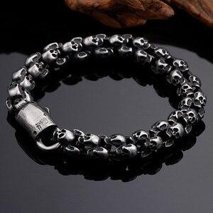 Image 4 - Kalen novo punk escovado crânio charme pulseiras para homens de aço inoxidável gótico fosco preto esqueleto pulseira masculino pub jóias 2017