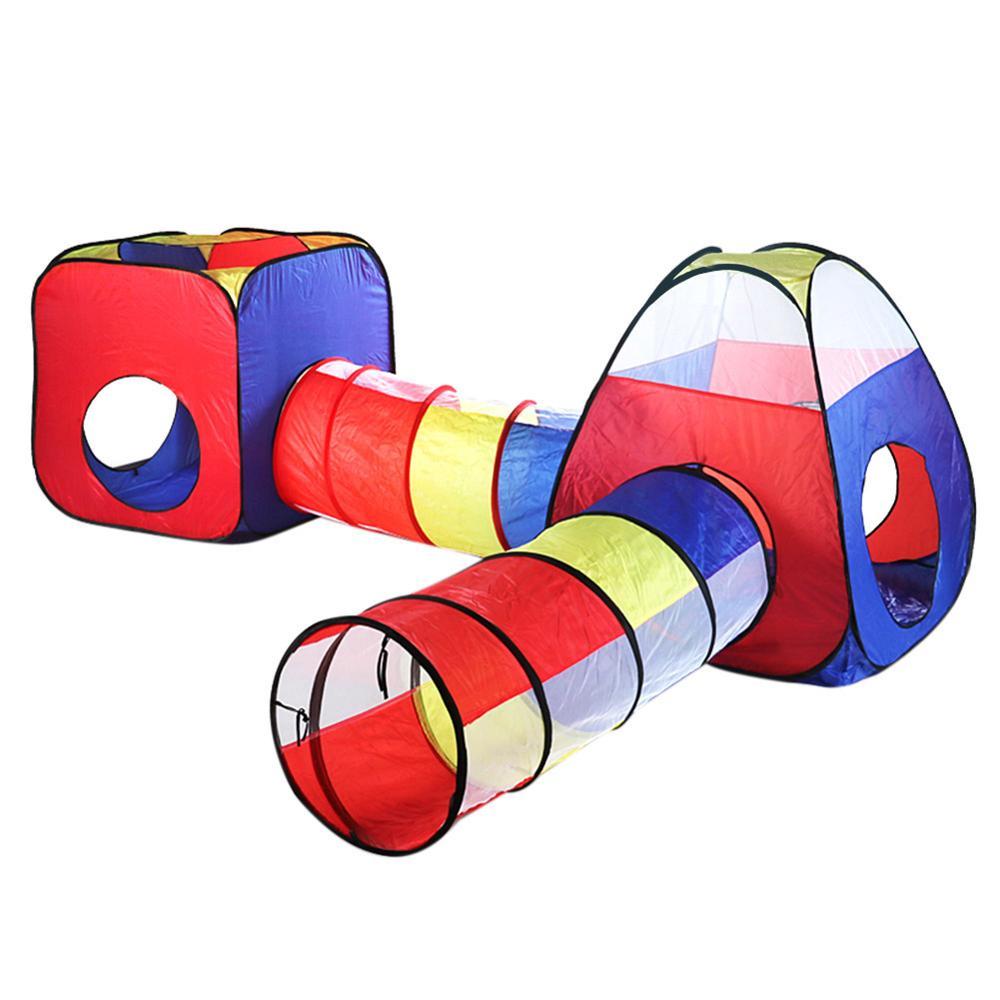 4 шт. детская палатка для помещений и улицы, детский игровой домик с океанским шариком, детский туннель из труб для ползания, игрушка, складная надувная палатка - Color: 01