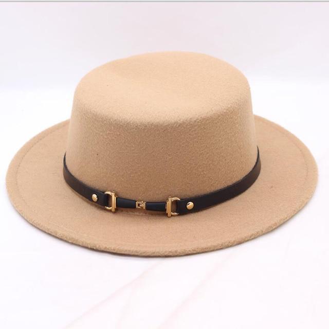 74d32ca1e14 SUOGRY 2018 New Autumn Fashion Wool Women s Black Fedora Hat For Lady Wide  Brim Jazz Church Cap Vintage Panama Top Hat
