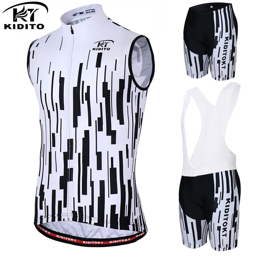 KIDITOKT New Sleeveless Cycling Jersey Equipment 2018 Summer Pro Men Cycling Clothing Vests Bike Sports Waistcoat Bib Pants Sets