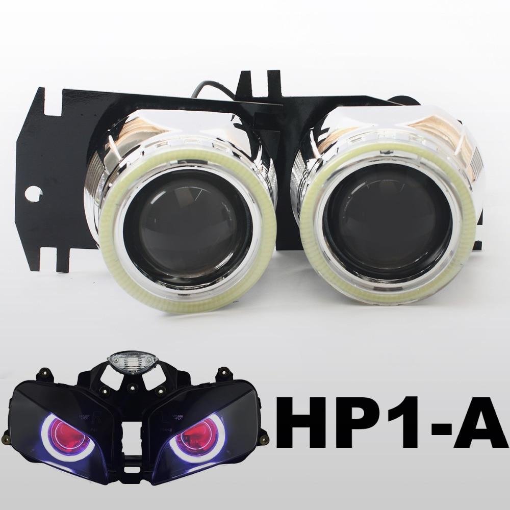 KT Headlight Suitable for Honda <font><b>CBR600RR</b></font> 2003-2006 <font><b>LED</b></font> Angel Eye Red Demon Eye Motorcycle HID Bi-xenon Projector Lens 2004 2005
