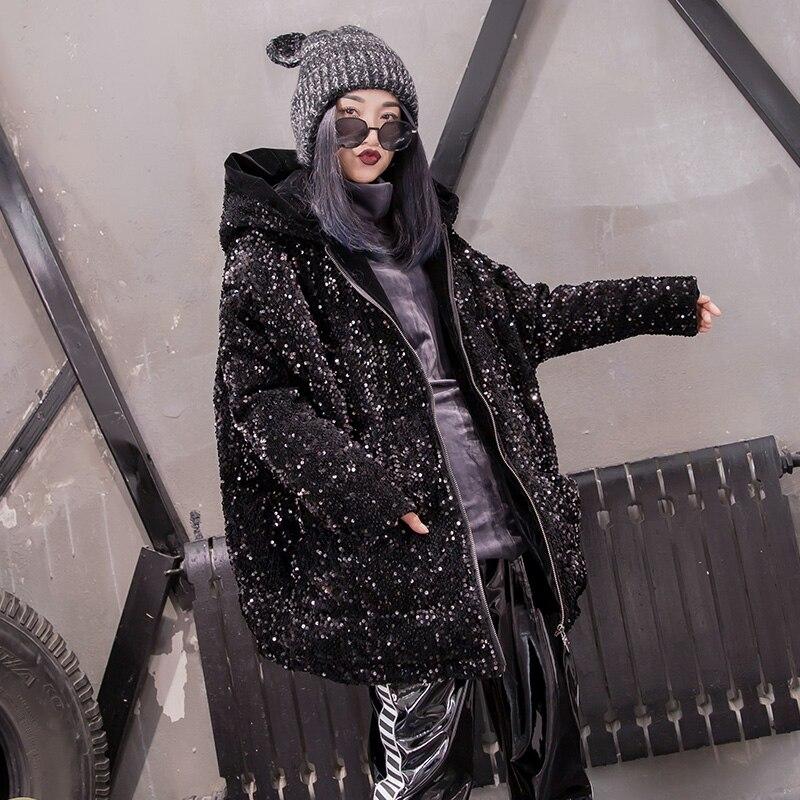 Épaississent Hip Style Black Vestes Nouvelle Paillettes 2018 À Longues Gx1335 Mode Capuchon Bling Hiver Parkas Manteaux Hop Femme Manches CqqwBrtH