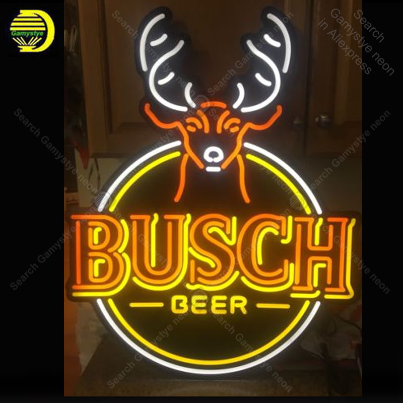 US $425 0 |Neon Sign for Busch Beer Hunting Sign Deer neon bulb Sign Beer  Decorate room wall Neon lights Sign glass Tube Iconic Advertise-in Neon