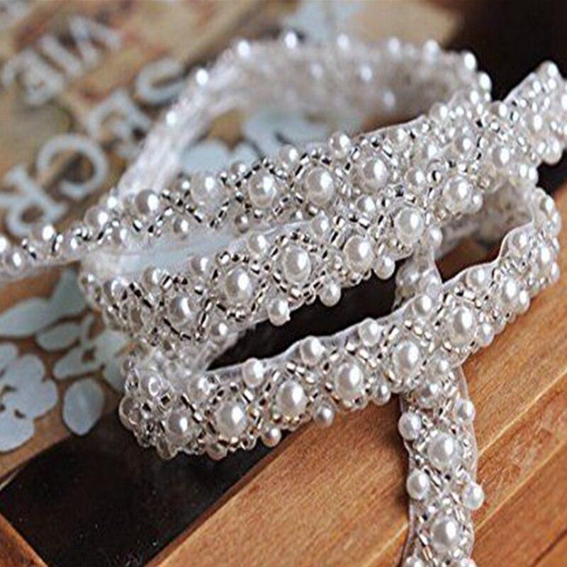 Jlzxsy guarnição de pérolas, 1 quintal, frisado, prata, strass, guarnição de noiva, aplique de casamento