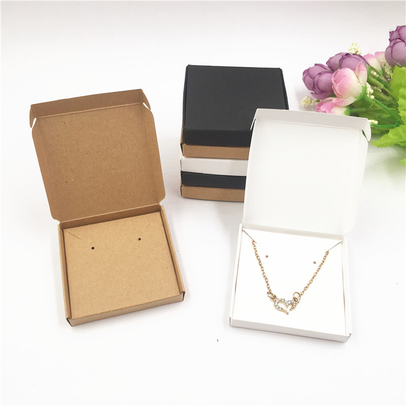 White Black Kraft Small And Exquisite Jewelry Accessories Carries Box Little Neckalce/Pendant Gift Packaging Paper Box
