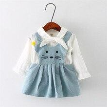 Vente chaude bébé gilr vêtements ensembles de mode blanc à manches longues chemise et bretelles robe infantile de bande dessinée chat motif vêtements