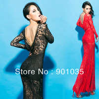 Free Shipping New 2013 Sexy Womens HOT Slim Fit Clubwear Lace Backless Evening Girl Party Winter