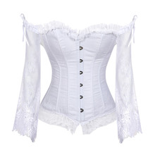 Bridal Corset Tops for Women with Sleeves Style Victorian Retro Burlesque Lace Corset and Bustiers Wedding Vest Fashion White