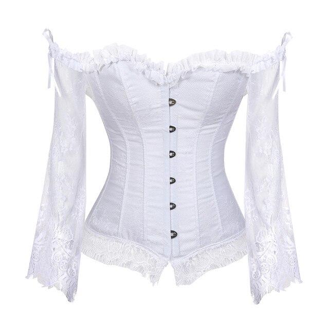 Corset et bustier en dentelle, Style victorien rétro, veste de mariée avec manches, mode hauts Corset, pour femmes