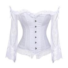 Tops de Corset de novia para mujer, con mangas, estilo victoriano Retro, corsé y chaleco de boda, color blanco