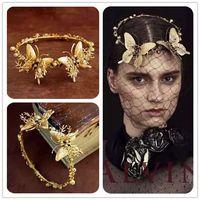 Retro Baroque Golden Butterfly Tiara Handmade Bride Headdress Hairband Party Prom Pageant Gold Headband Hair Accessories