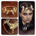 Retro barroco de ouro borboleta tiara de noiva mantilha hairband Prom Pageant ouro Headband acessórios de cabelo