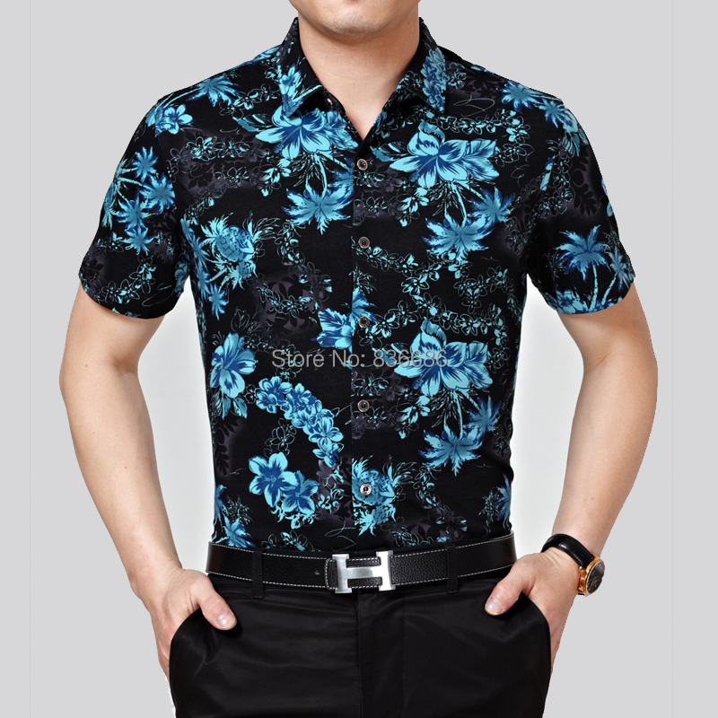 f4c352767 High quality summer mens hawaiian shirt fashion floral printing male short  sleeve cotton dress shirts-in Casual Shirts from Men's Clothing on  Aliexpress.com ...