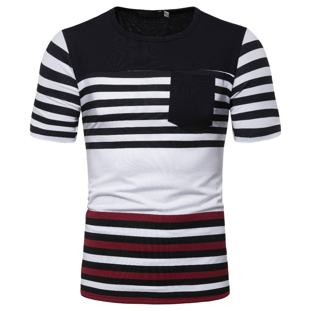 MarKyi pocket stipred casual t shirt men brand 2019 Eu size short sleeve tshirt 100 cotton t shirt slim in T Shirts from Men 39 s Clothing