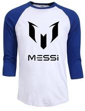 100% хлопок Барселона МЕССИ Мужчины футболки топы Человек случайный реглан рукав хип-хоп футболки лето осень марка одежды Плюс размер