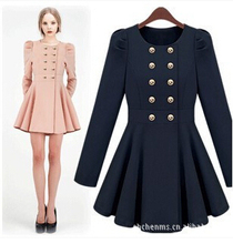 women winter coat  The new double breasted sweet slim slim skirt dress coat free shipping