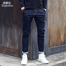 Enjeolon brand top quality long full casual trousers jeans men, cotton clothing males Causal solid black blue jeans Pants KZ6140(China)