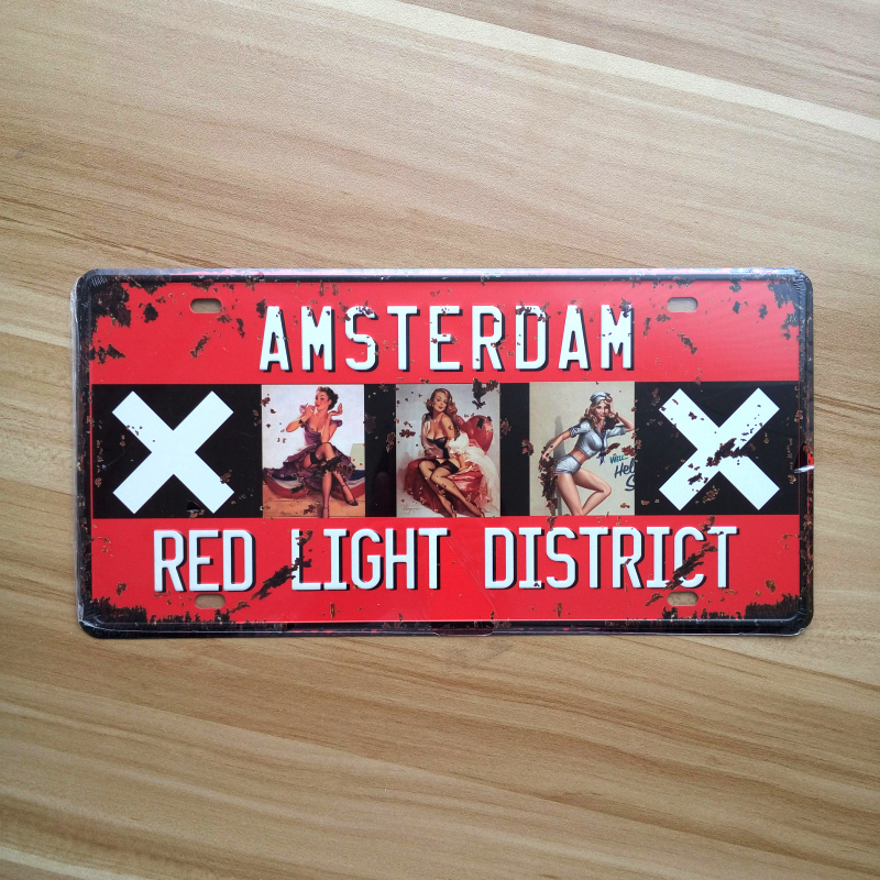 AMSTERDAM RED LIGHT DISTRICT Vintage tin sign metal painting Sexy lady retro bar pub cafe shop home decoration iron wall plaque