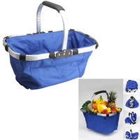 New Waterproof Foldable Eco Friendly Cotton Reusable Shopping Bag Grocery Basket Blue Large Capacity High Quality