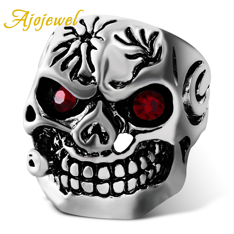 Ajojewel Size 7-10 Red/Green Crystal Eye Antique Cool Skull Men Ring Gothenic Jewelry