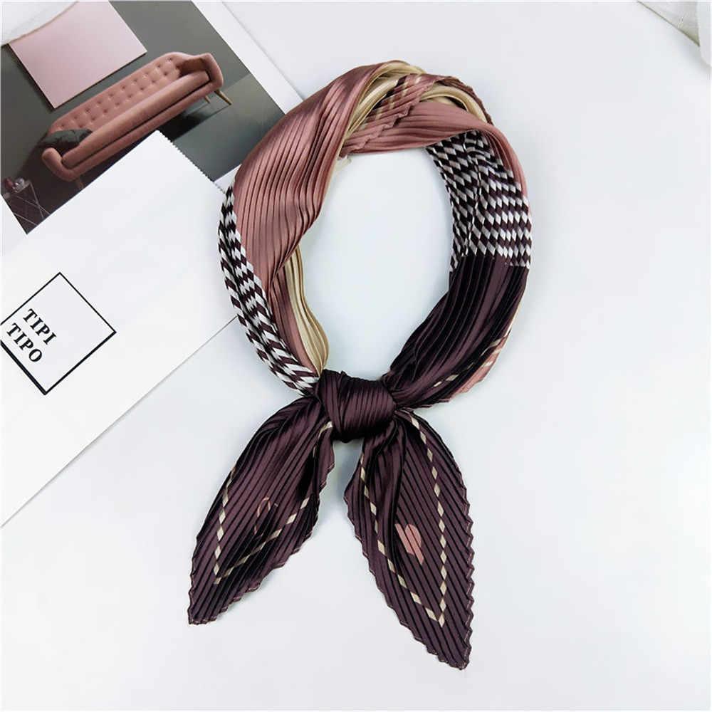 70*70cm Frauen Koreanische Mode Crinkle Seide Kleine Neck Schals Retro Satin Quadrat Schal Bandana Halstuch Hals Binden headwraps