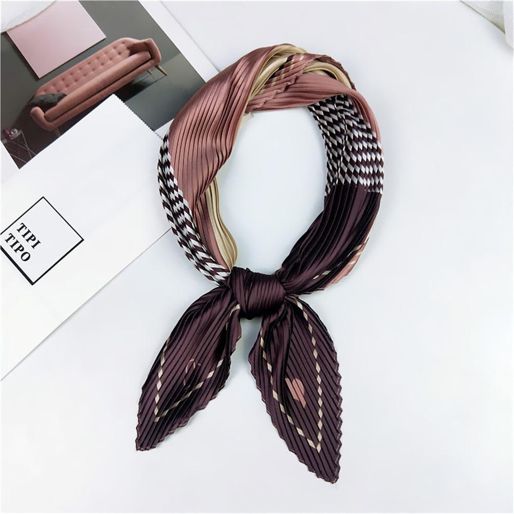70*70cm Women Korean Fashion Crinkle Silk Small Neck Scarves Retro Satin Square Scarf Bandana Neckerchief Neck Tie Headwraps