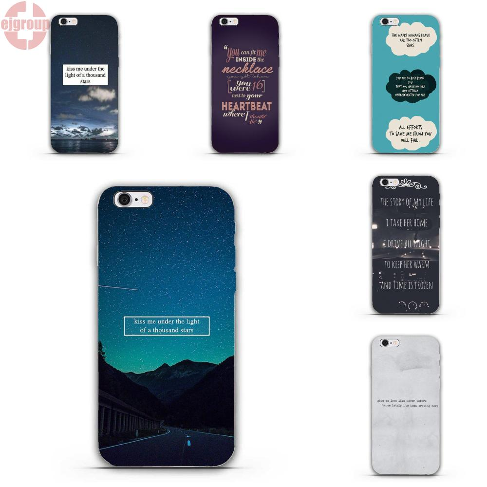 EJGROUP Soft TPU Silicon Print Capa For iPhone 4 4S 5 5C SE 6 6S 7 8 Plus X Star Ed Sheeran Song Quotes