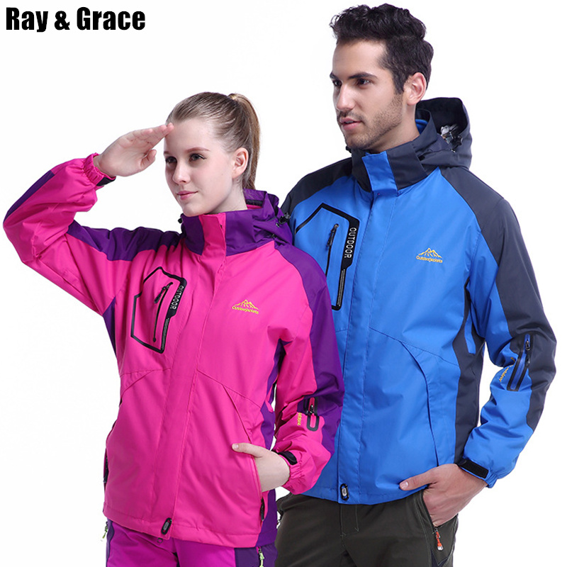 RAY GRACE Winter Outdoor Jacket For Women Men Thick Warm Windbreaker Waterproof Hiking Camping Coat Windproof Climbing Parka