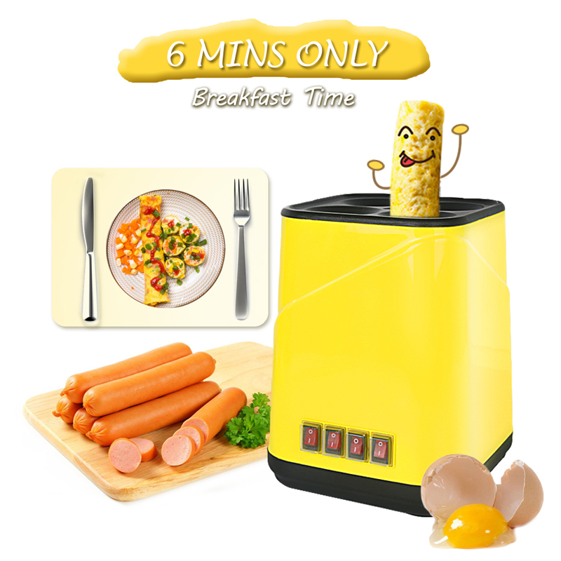Breakfast Machine Automatic Electric Egg Roll Maker Egg Boiler Non-stick Egg Cup Omelette Sausage Machine Egg Boiler DIY Tools cukyi automatic roll maker electric egg boiler cup omelette breakfast maker non stick kitchen cooking tool 220v heat separately
