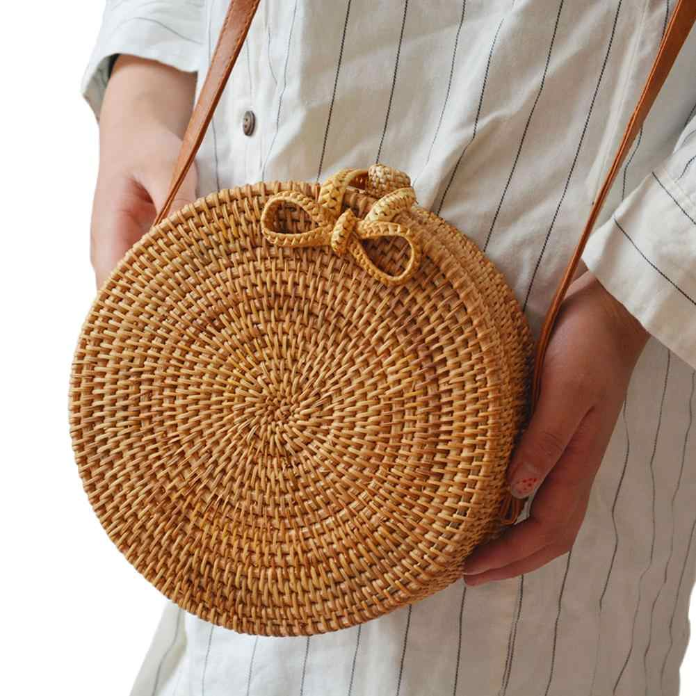 2018 New Fashion Straw Storage Bag Women's Summer Rattan Bag Purely Hand-woven Beach Cross Body Bag Circle Bohemia Handbag