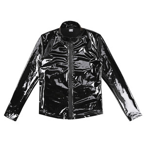 Image 3 - New Long Sleeve Patent Leather Men Shiny Metallic Front Zip Stand Collar Tops Wet Look Nightclub Style Jackets Party Costumes