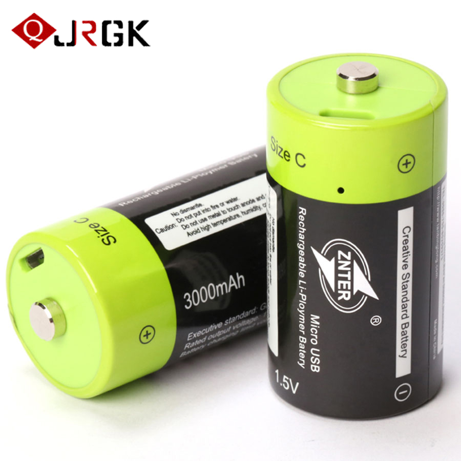 JRGK 1.5V 3000mAh Universal Micro USB Charging Batteries Rechargeable Battery Size C Charged Lipo Lithium Polymer Batteria 5V 2A