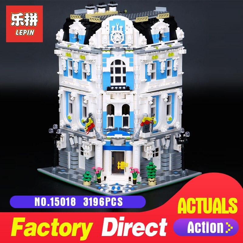 купить 3196Pcs Lepin 15018 Street view City Series MOC The Sunshine Hotel Set Building Blocks Bricks Educational Toys to children по цене 6731.75 рублей
