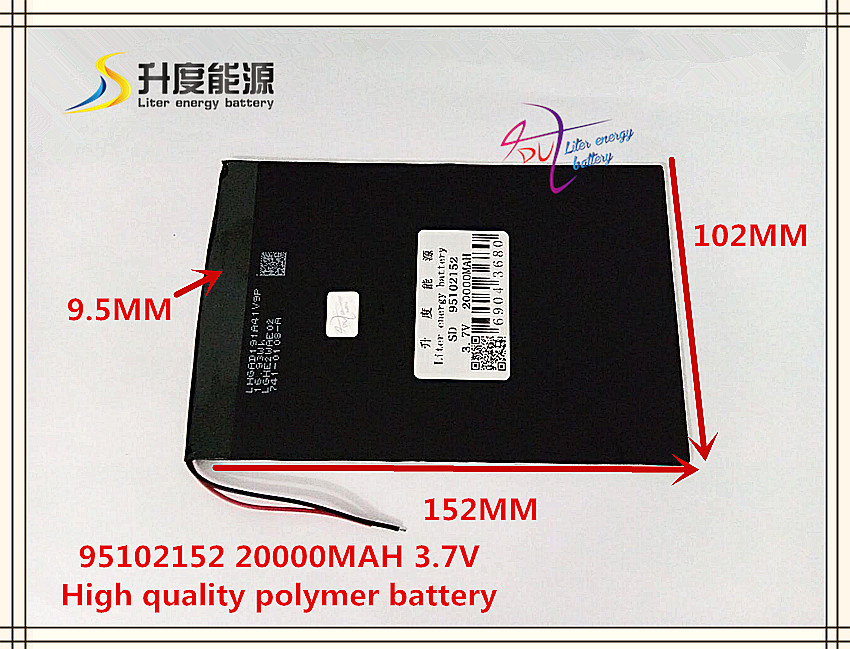 3.7V 20000mAH SD 95102152 (polymer lithium ion / Li-ion battery) for POWER BANK;tablet pc,mid,MP3,MP4 3 7v 20000mah sd 1465152 polymer lithium ion li ion battery for mobile bank tablet pc cell phone power bank