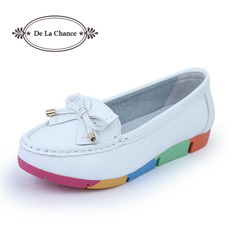 De La Chance Women Flat Shoes New Autumn Slip On Student Casual Shoes Solid PU Ladies Loafers Shoes Soft Nurse Shoes White Blue baijiami 2017 new children solid breathable slip on pu casual shoes boys and girls spring summer autumn flat bottom shoes