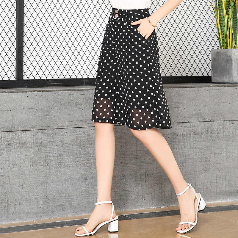 Lato szyfonowa krótkie spodnie luźne czarne szerokie nogawki spodnie do kolan wysokiej talii kobiety moda spodnie capri biurowe eleganckie nosić