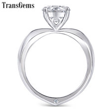 Transgems 14k 585 White Gold Moissanite Gold Engagement Ring for Women Center 1ct 6.5mm F Color Moissanite Ladies Ring цена в Москве и Питере